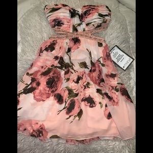 Pink black floral short party dress 3 speechless
